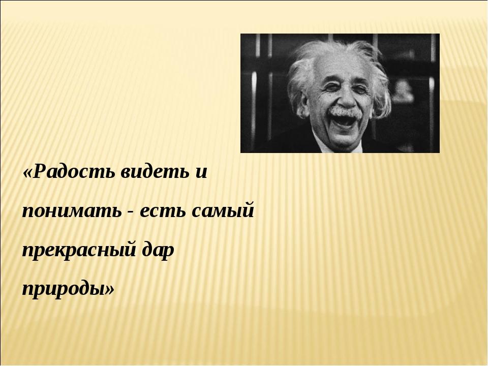 «Радость видеть и понимать - есть самый прекрасный дар природы» А. Эйнштейн