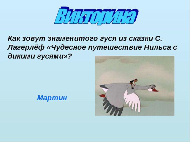 Как зовут знаменитого гуся из сказки С. Лагерлёф «Чудесное путешествие Нильса...