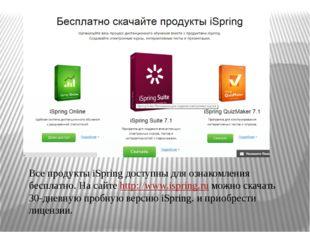 Все продукты iSpring доступны для ознакомления бесплатно. На сайте http://www