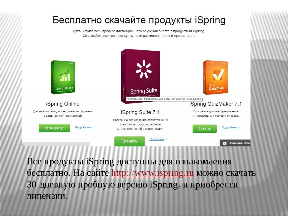 Все продукты iSpring доступны для ознакомления бесплатно. На сайте http://www...