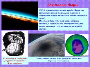 Озоновые дыры ОЗОН – разновидность кислорода. Этот газ тонкой оболочкой покры