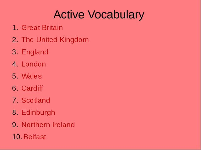 Active Vocabulary Great Britain The United Kingdom England London Wales Cardi...