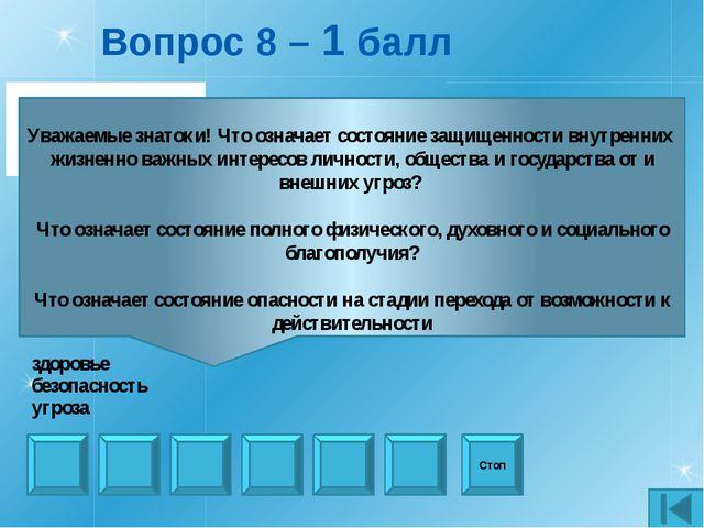 Вопрос 21 – Черный ящик - 1 балл Стоп Уважаемые знатоки! Эту игру придумали и...