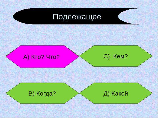 А) Кто? Что? В) Когда? Д) Какой С) Кем? А) Кто? Что? Подлежащее