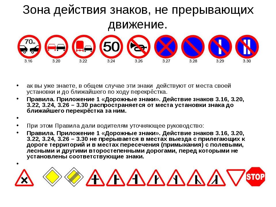 Зона действия знаков, не прерывающих движение.  ак вы уже знаете, в общем сл...