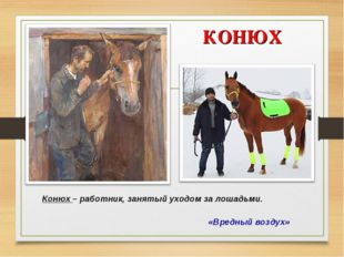 КОНЮХ «Вредный воздух» Конюх – работник, занятый уходом за лошадьми.