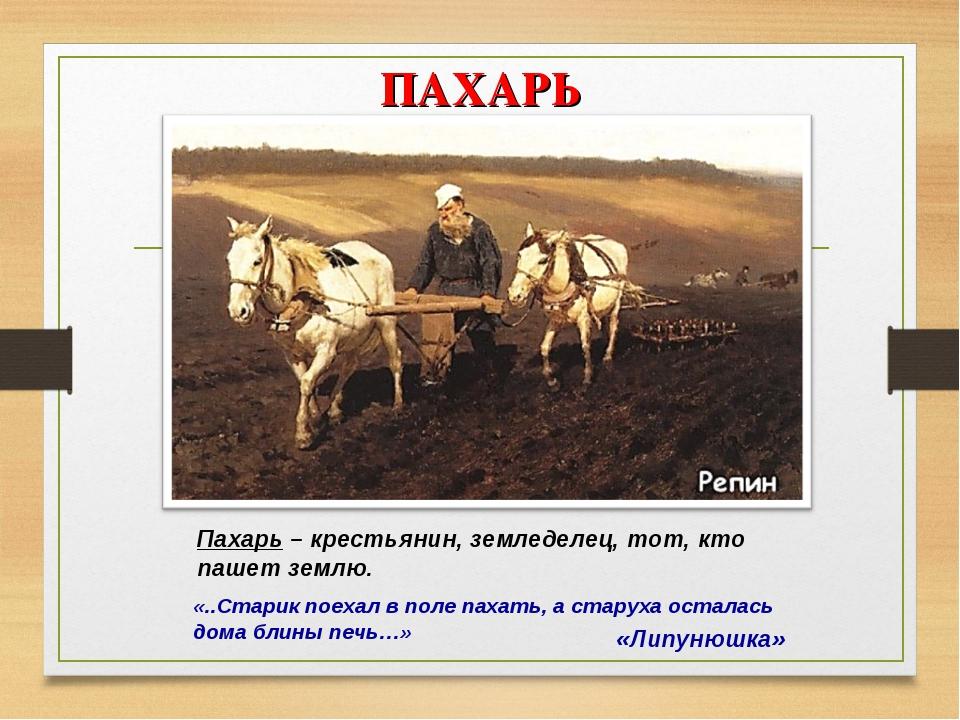 ПАХАРЬ «Липунюшка» Пахарь – крестьянин, земледелец, тот, кто пашет землю. «.....