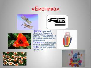 «Бионика» Цветок: красный, большой, пахучий, утром, открывается, а вечером за