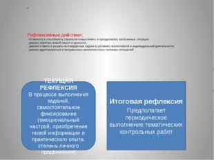 Рефлексивные действия: - готовность и способность творчески осмысливать и пр
