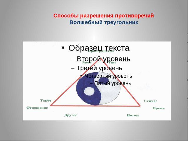 Способы разрешения противоречий Волшебный треугольник
