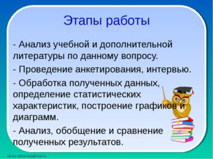 Этапы работы - Анализ учебной и дополнительной литературы по данному вопросу.