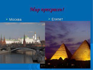 Мир прекрасен! Москва Египет