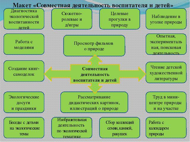 Макет «Совместная деятельность воспитателя и детей» Диагностика экологической...