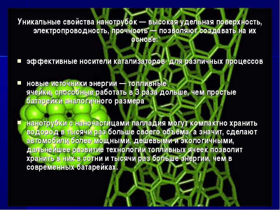 Уникальные свойства нанотрубок — высокая удельная поверхность, электропроводн...