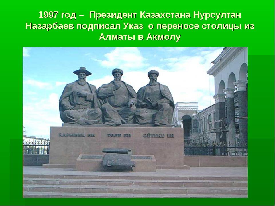 1997 год – Президент Казахстана Нурсултан Назарбаев подписал Указ о переносе...