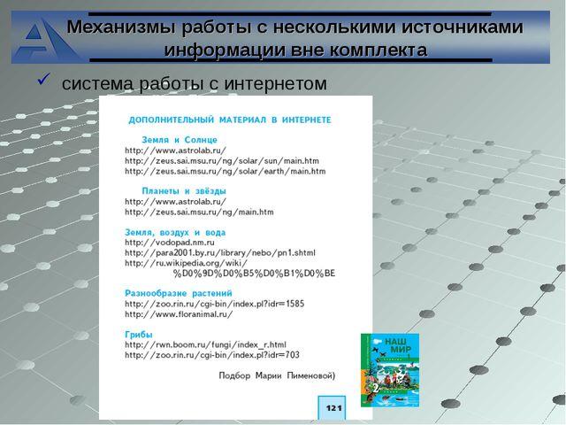 Механизмы работы с несколькими источниками информации вне комплекта система...