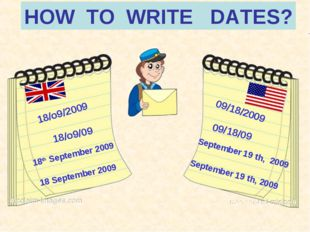 HOW TO WRITE DATES? 18/o9/2009 09/18/2009 18/o9/09 09/18/09 18th September 20