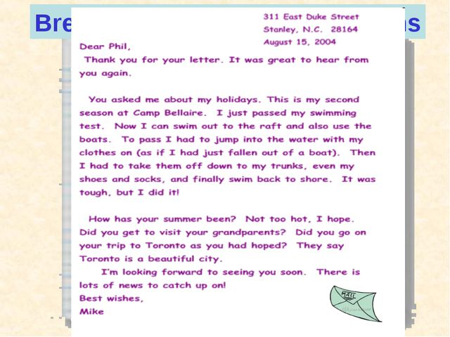 311 East Duke St. Stanley N.C. 28 164 August 15, 2004 Dear Fill, Thank you fo...