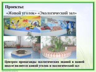Проекты: «Живой уголок» «Экологический зал» Центром пропаганды экологических