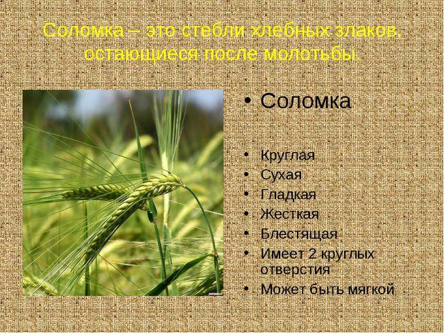 Соломка – это стебли хлебных злаков, остающиеся после молотьбы. . Соломка Кру...