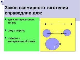 Закон всемирного тяготения справедлив для: двух материальных точек; двух шар
