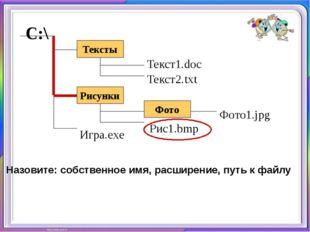 Назовите: собственное имя, расширение, путь к файлу Тексты С:\ Рисунки Фото