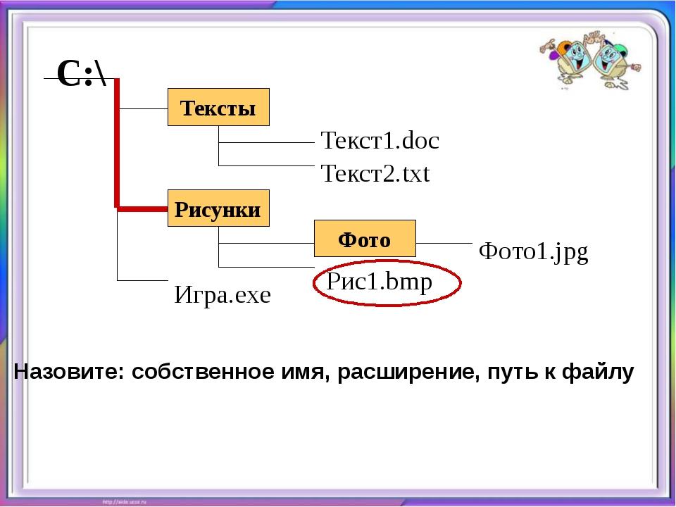 Назовите: собственное имя, расширение, путь к файлу Тексты С:\ Рисунки Фото...