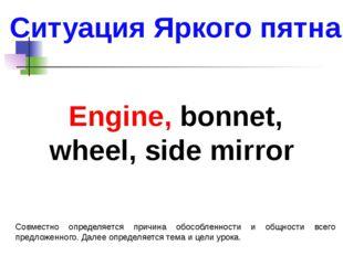 Ситуация Яркого пятна Engine, bonnet, wheel, side mirror Совместно определяет