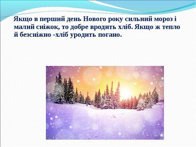 Якщо в перший день Нового року сильний мороз і малий сніжок, то добре вродит...