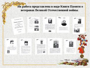 Их работа представлена в виде Книги Памяти о ветеранах Великой Отечественной