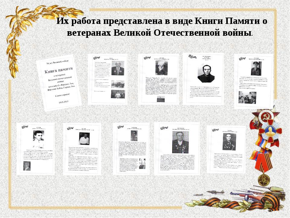 Их работа представлена в виде Книги Памяти о ветеранах Великой Отечественной...