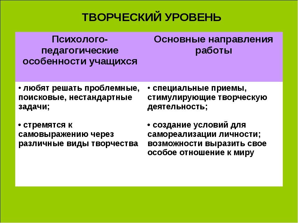 ТВОРЧЕСКИЙ УРОВЕНЬ Психолого-педагогические особенности учащихсяОсновные нап...