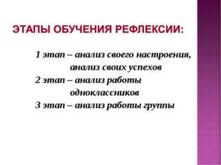 1 этап – анализ своего настроения, анализ своих успехов 2 этап – анализ работ