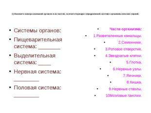 1) Назовите номера названий органов и их частей, соответствующих определенно