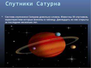 Спутники Сатурна Система спутников Сатурна довольно сложна. Известны 30спутн