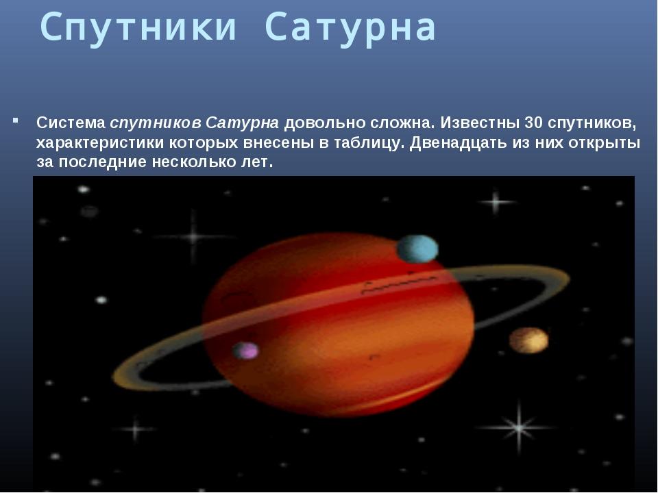 Спутники Сатурна Система спутников Сатурна довольно сложна. Известны 30спутн...