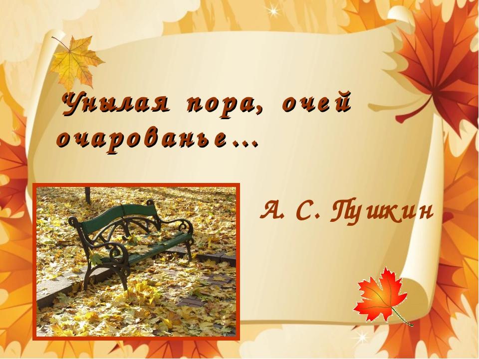 Унылая пора, очей очарованье… А.С.Пушкин