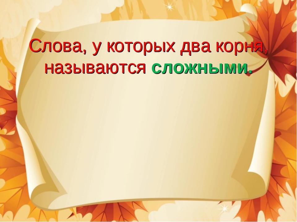 Слова, у которых два корня, называются сложными.