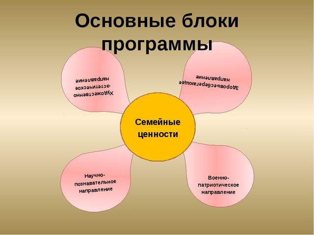 Основные блоки программы Художественно-эстетическое направление Военно-патрио...
