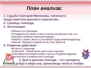 Тихий Дон План анализа: 1. Судьба Григория Мелехова, типичного представителя