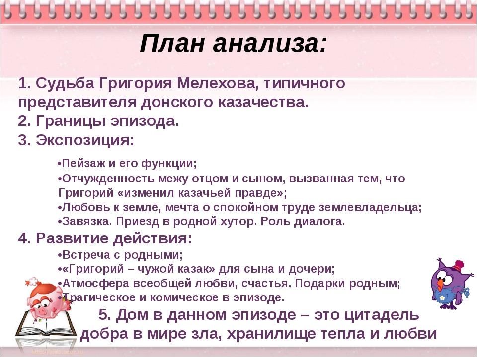 Тихий Дон План анализа: 1. Судьба Григория Мелехова, типичного представителя...