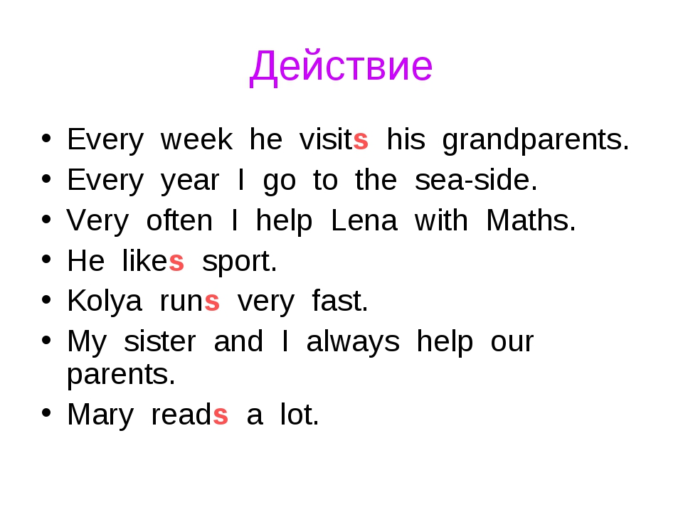 Действие Every week he visits his grandparents. Every year I go to the sea-si...