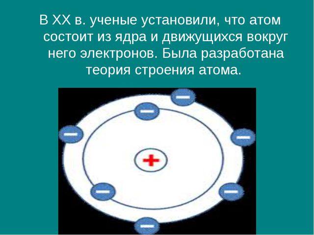 В XX в. ученые установили, что атом состоит из ядра и движущихся вокруг него...