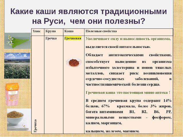 Какие каши являются традиционными на Руси, чем они полезны?