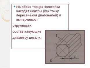 На обоих торцах заготовки находят центры (как точку пересечения диагоналей) и