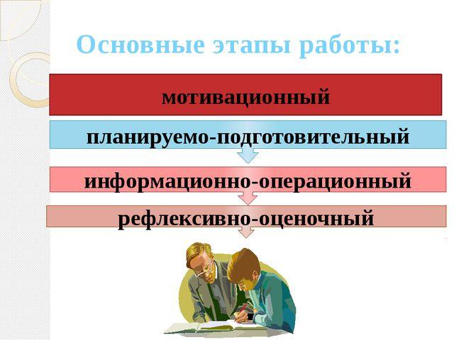 Основные этапы работы: мотивационный рефлексивно-оценочный планируемо-подгото...