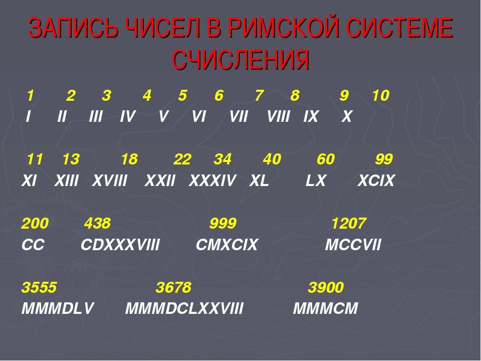 ЗАПИСЬ ЧИСЕЛ В РИМСКОЙ СИСТЕМЕ СЧИСЛЕНИЯ 1 2 3 4 5 6 7 8 9 10 I II III IV V V...