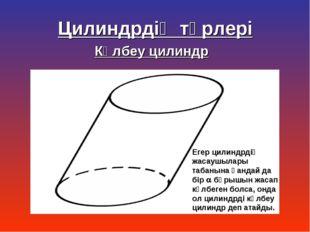 Көлбеу цилиндр Егер цилиндрдің жасаушылары табанына қандай да бір  бұрышын ж