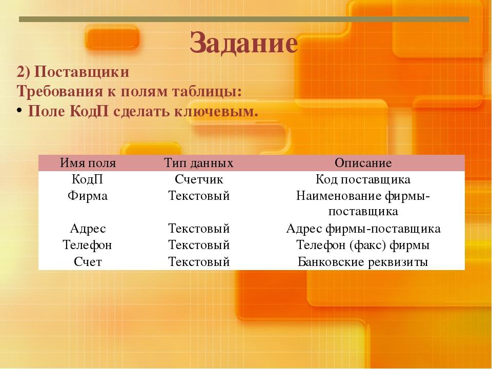 Задание 2) Поставщики Требования к полям таблицы: Поле КодП сделать ключевым....