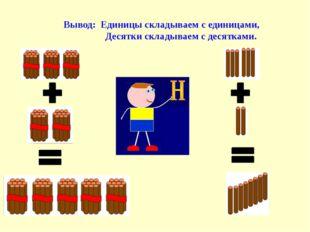 Вывод: Единицы складываем с единицами, Десятки складываем с десятками.